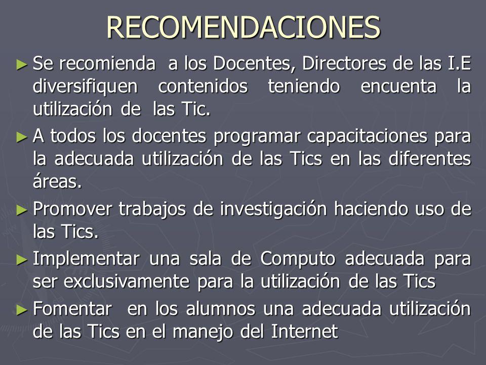 RECOMENDACIONES Se recomienda a los Docentes, Directores de las I.E diversifiquen contenidos teniendo encuenta la utilización de las Tic.