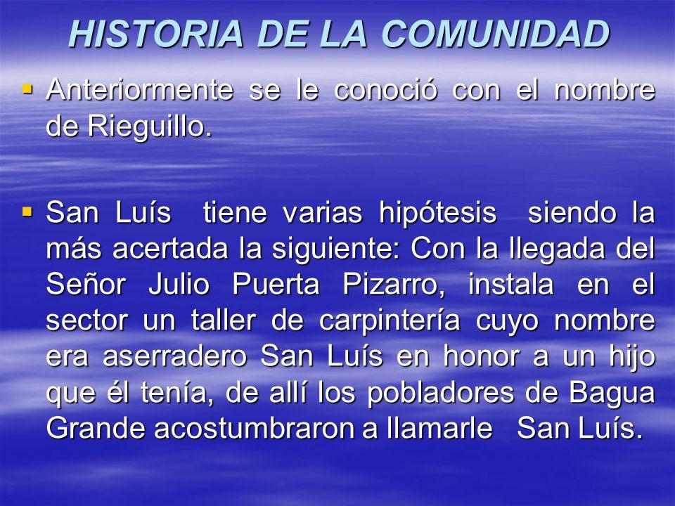 HISTORIA DE LA COMUNIDAD