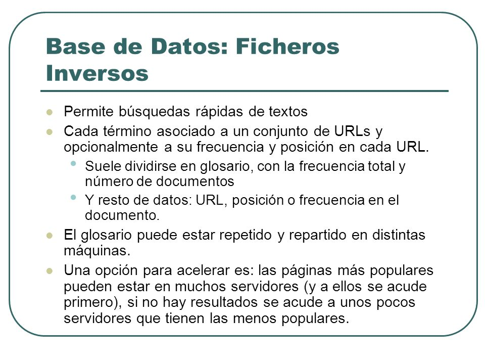 Base de Datos: Ficheros Inversos