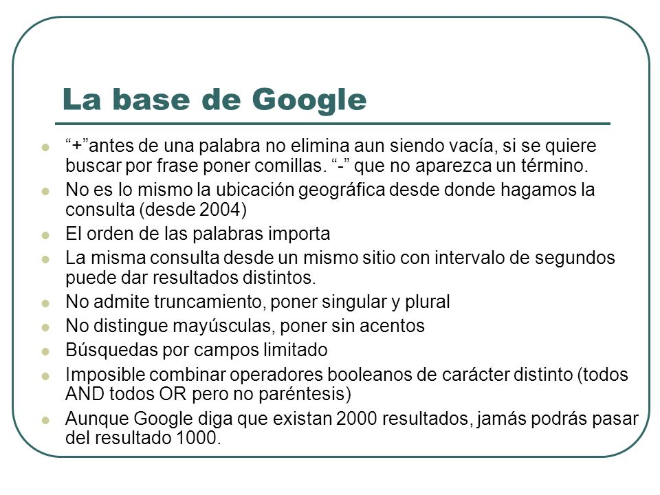 La base de Google + antes de una palabra no elimina aun siendo vacía, si se quiere buscar por frase poner comillas. - que no aparezca un término.