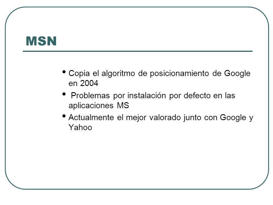 MSN Copia el algoritmo de posicionamiento de Google en 2004