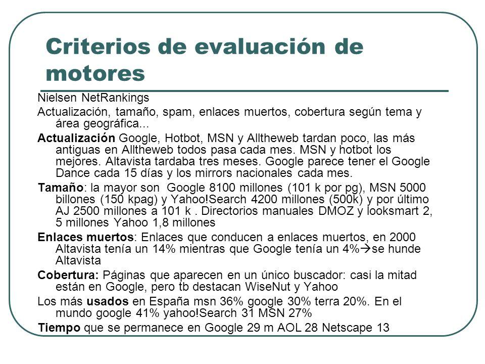 Criterios de evaluación de motores