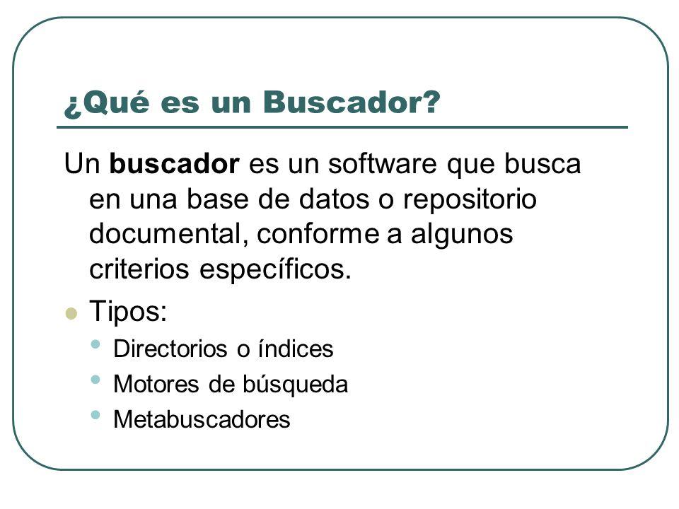 ¿Qué es un Buscador Un buscador es un software que busca en una base de datos o repositorio documental, conforme a algunos criterios específicos.