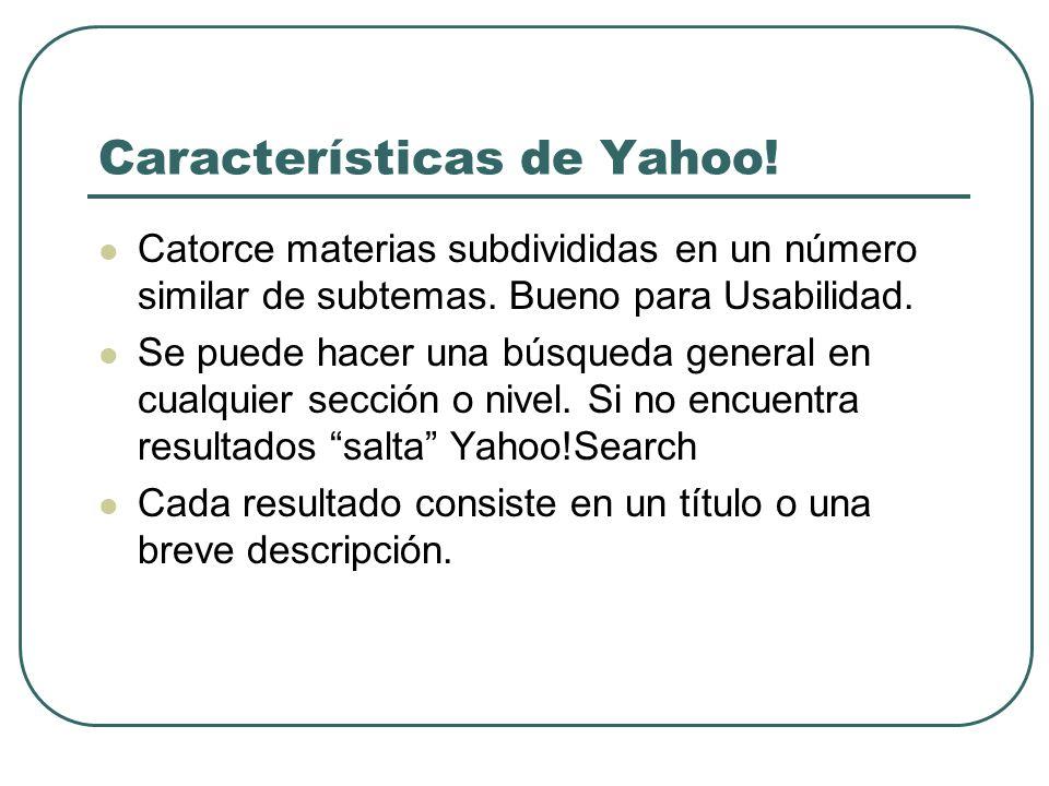 Características de Yahoo!