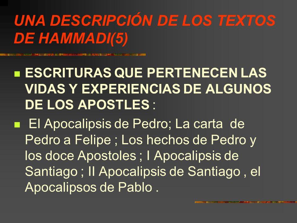 UNA DESCRIPCIÓN DE LOS TEXTOS DE HAMMADI(5)