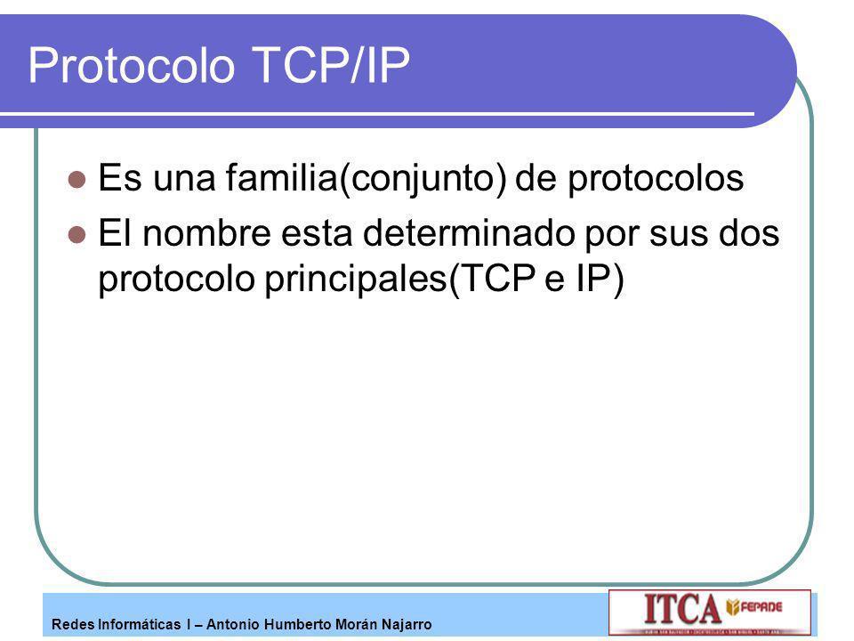 Protocolo TCP/IP Es una familia(conjunto) de protocolos
