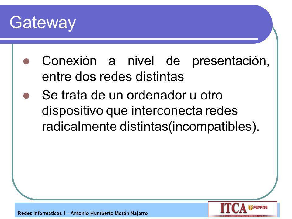 Gateway Conexión a nivel de presentación, entre dos redes distintas