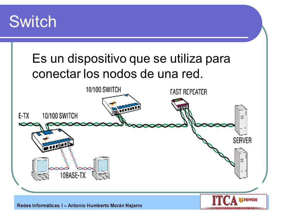 Switch Es un dispositivo que se utiliza para conectar los nodos de una red.