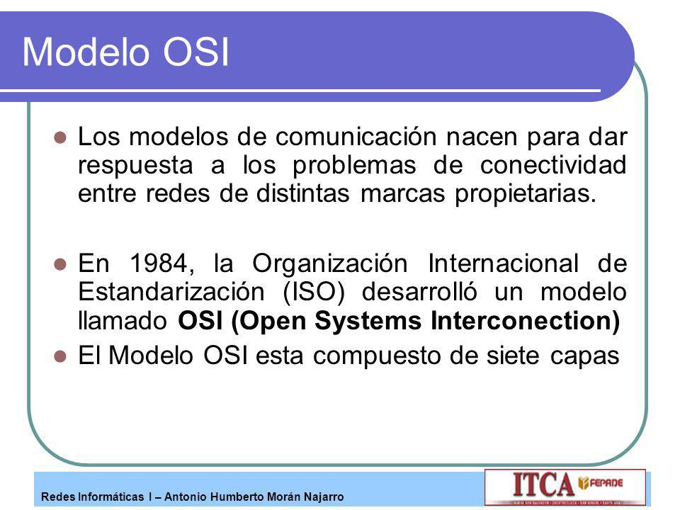 Modelo OSI Los modelos de comunicación nacen para dar respuesta a los problemas de conectividad entre redes de distintas marcas propietarias.