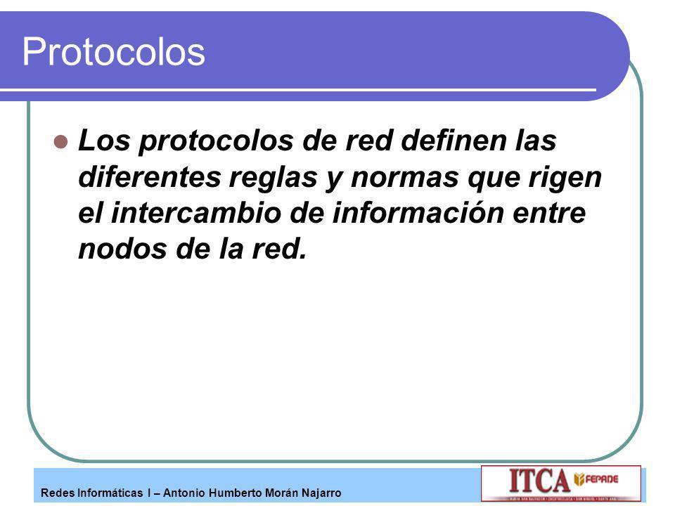 Protocolos Los protocolos de red definen las diferentes reglas y normas que rigen el intercambio de información entre nodos de la red.
