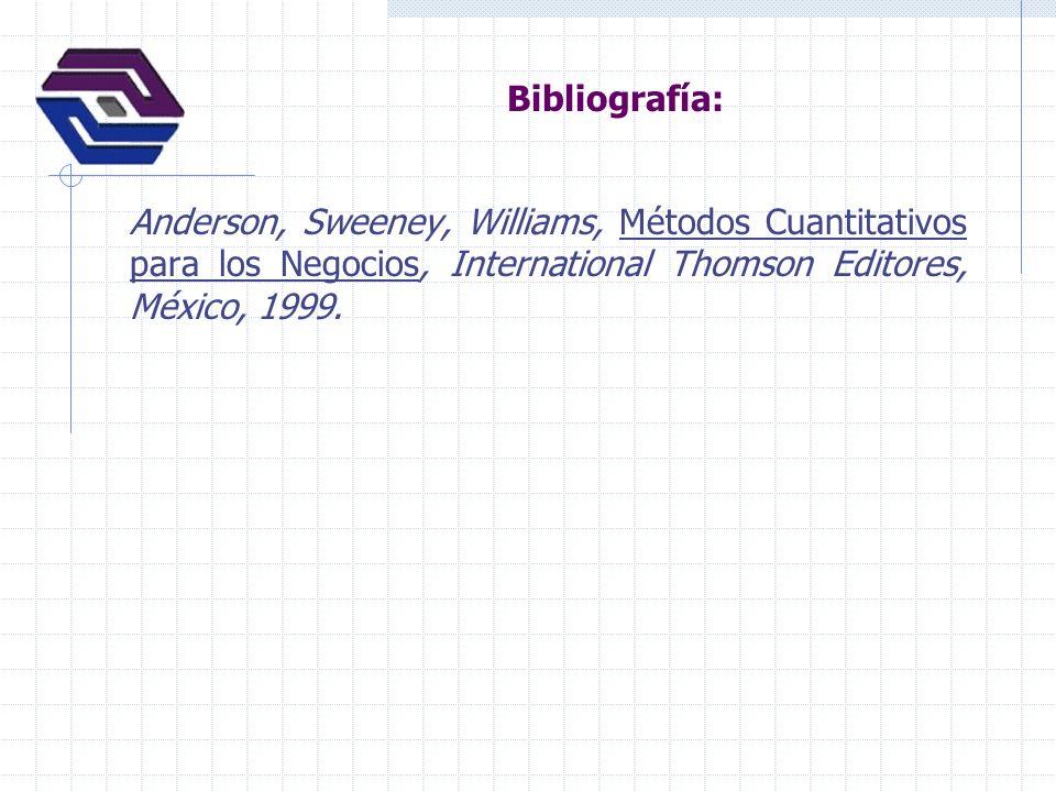 Bibliografía: Anderson, Sweeney, Williams, Métodos Cuantitativos para los Negocios, International Thomson Editores, México, 1999.