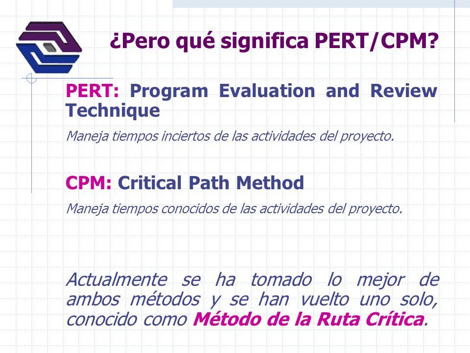 ¿Pero qué significa PERT/CPM