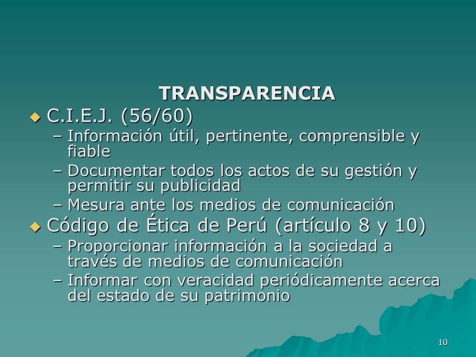 Código de Ética de Perú (artículo 8 y 10)