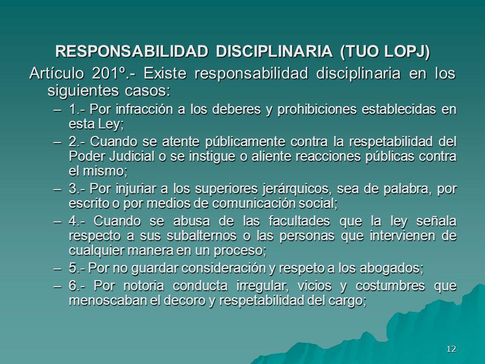 RESPONSABILIDAD DISCIPLINARIA (TUO LOPJ)