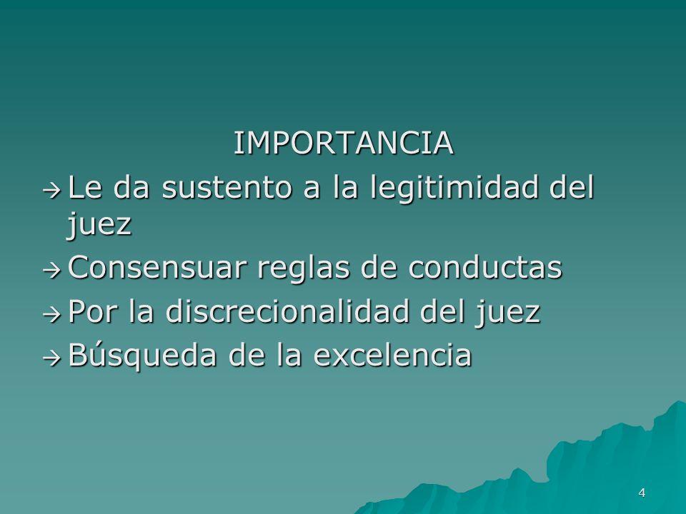 IMPORTANCIA Le da sustento a la legitimidad del juez. Consensuar reglas de conductas. Por la discrecionalidad del juez.