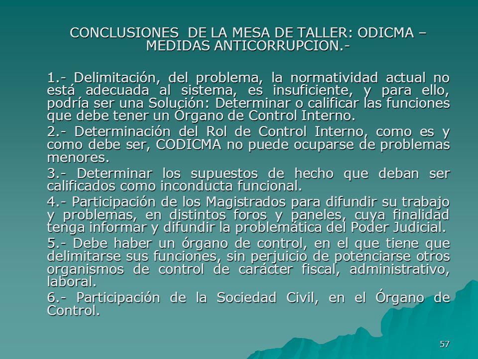 CONCLUSIONES DE LA MESA DE TALLER: ODICMA – MEDIDAS ANTICORRUPCION.-