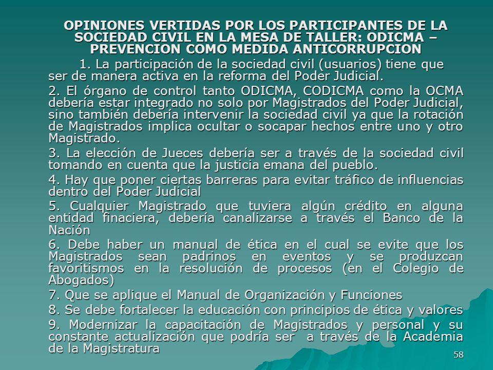 OPINIONES VERTIDAS POR LOS PARTICIPANTES DE LA SOCIEDAD CIVIL EN LA MESA DE TALLER: ODICMA –PREVENCION COMO MEDIDA ANTICORRUPCION