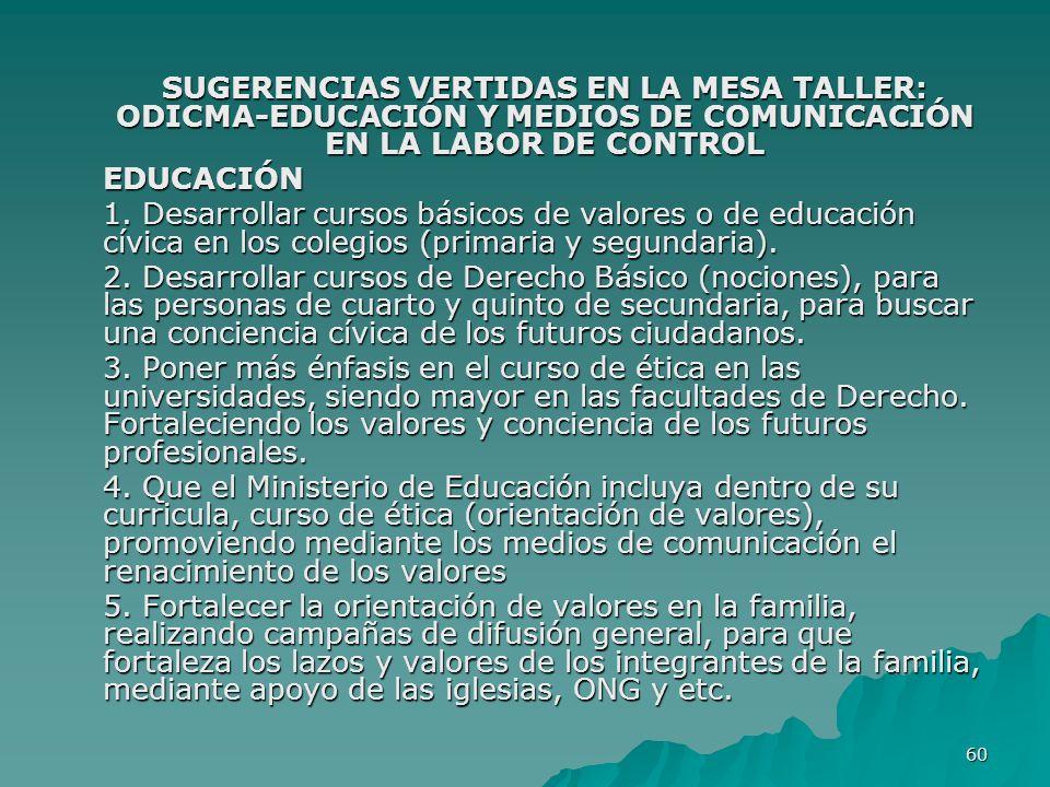 SUGERENCIAS VERTIDAS EN LA MESA TALLER: ODICMA-EDUCACIÓN Y MEDIOS DE COMUNICACIÓN EN LA LABOR DE CONTROL