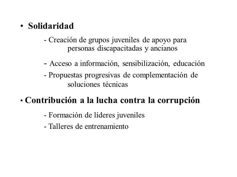 - Acceso a información, sensibilización, educación