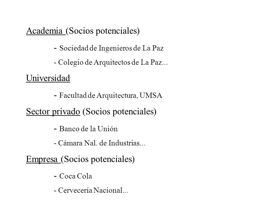 Academia (Socios potenciales) - Sociedad de Ingenieros de La Paz