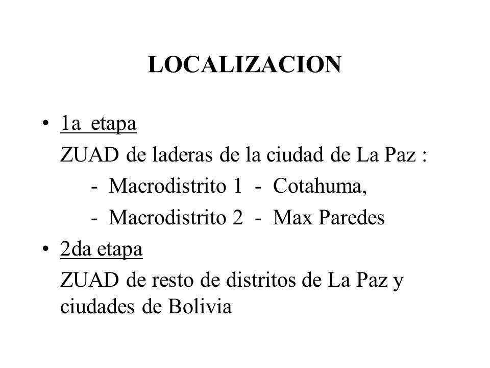 LOCALIZACION 1a etapa ZUAD de laderas de la ciudad de La Paz :