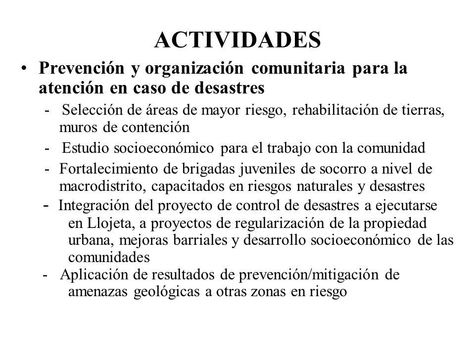 ACTIVIDADES Prevención y organización comunitaria para la atención en caso de desastres.