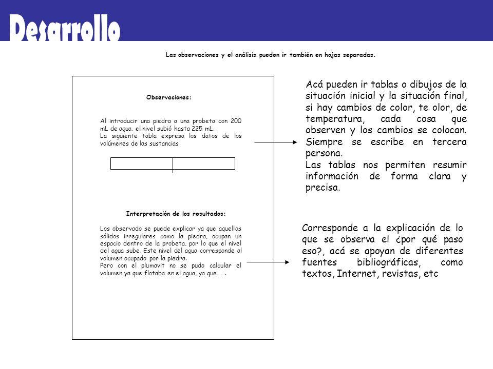 DesarrolloLas observaciones y el análisis pueden ir también en hojas separadas.