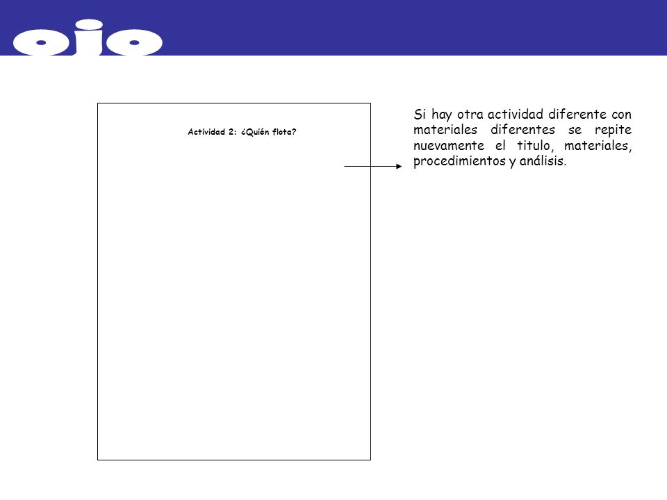 ojo Si hay otra actividad diferente con materiales diferentes se repite nuevamente el titulo, materiales, procedimientos y análisis.
