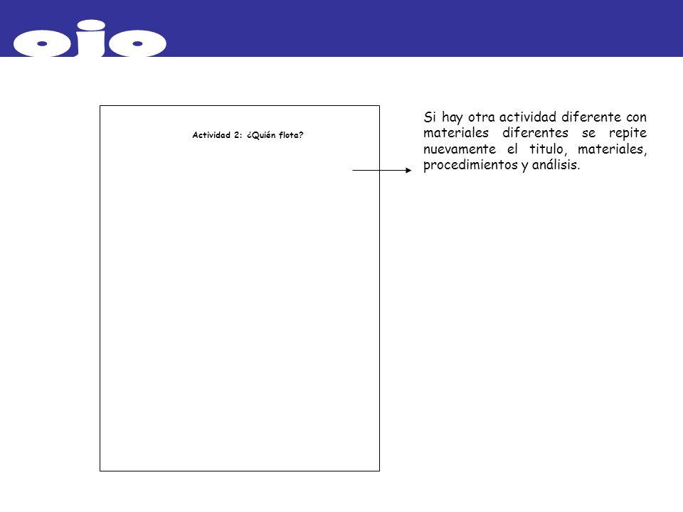 ojoSi hay otra actividad diferente con materiales diferentes se repite nuevamente el titulo, materiales, procedimientos y análisis.
