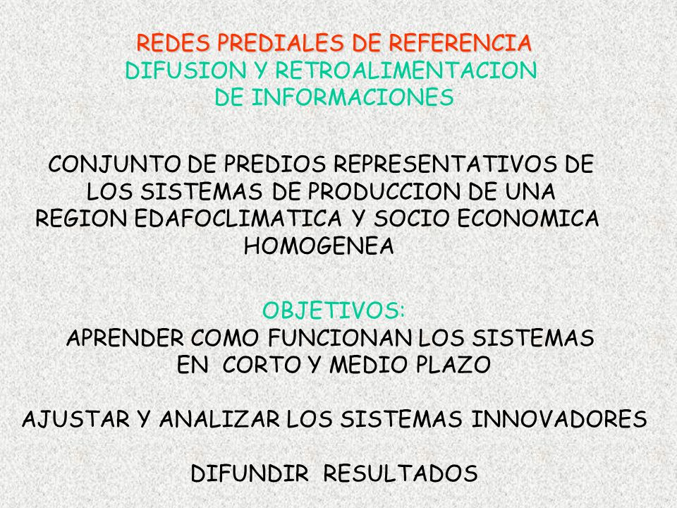 REDES PREDIALES DE REFERENCIA DIFUSION Y RETROALIMENTACION