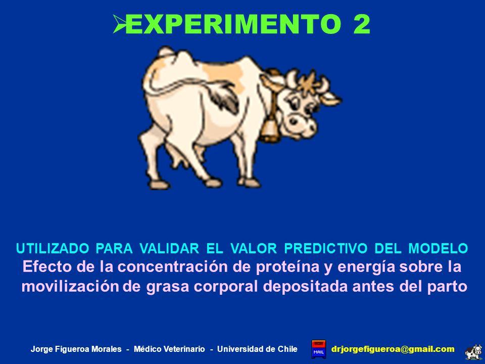 EXPERIMENTO 2 UTILIZADO PARA VALIDAR EL VALOR PREDICTIVO DEL MODELO. Efecto de la concentración de proteína y energía sobre la.