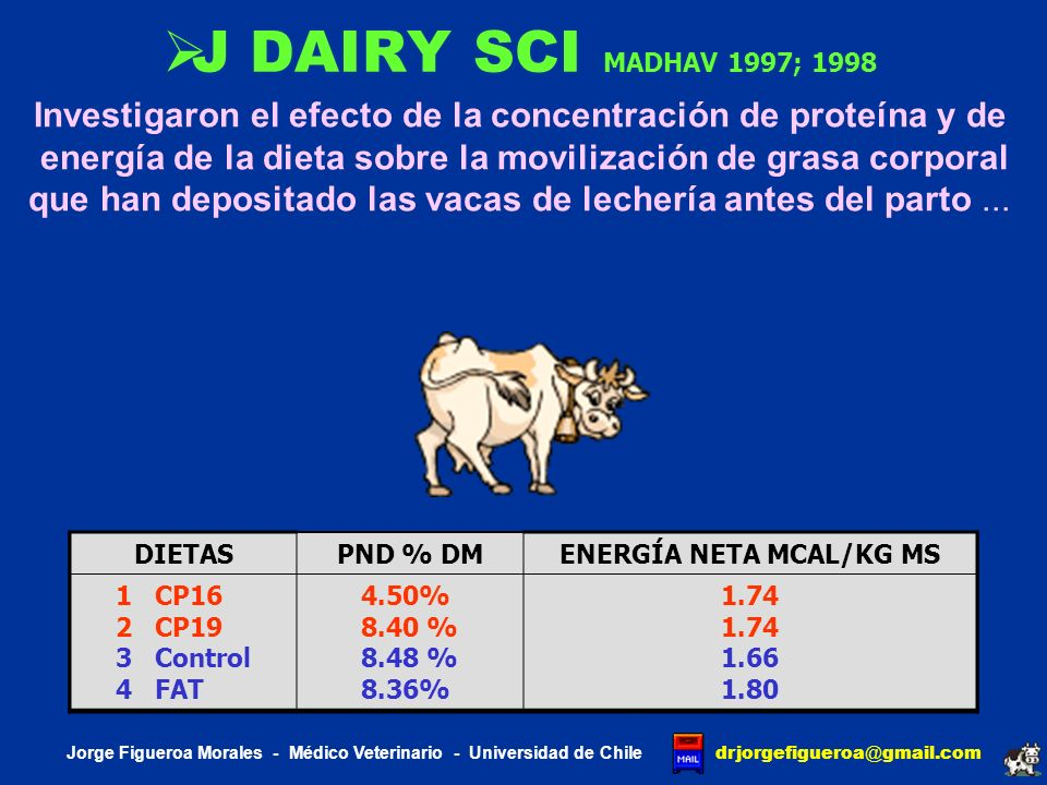 J DAIRY SCI MADHAV 1997; 1998Investigaron el efecto de la concentración de proteína y de.