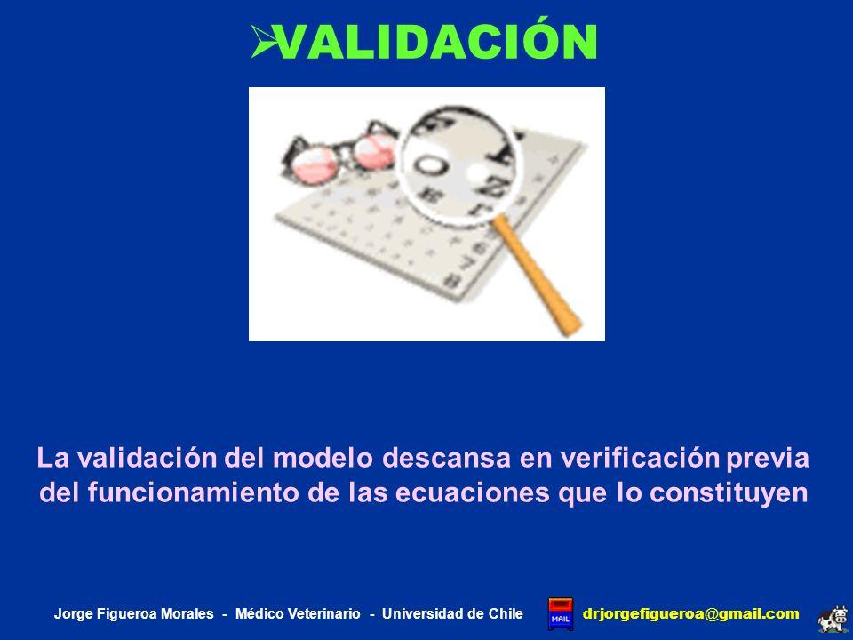 VALIDACIÓN La validación del modelo descansa en verificación previa del funcionamiento de las ecuaciones que lo constituyen.