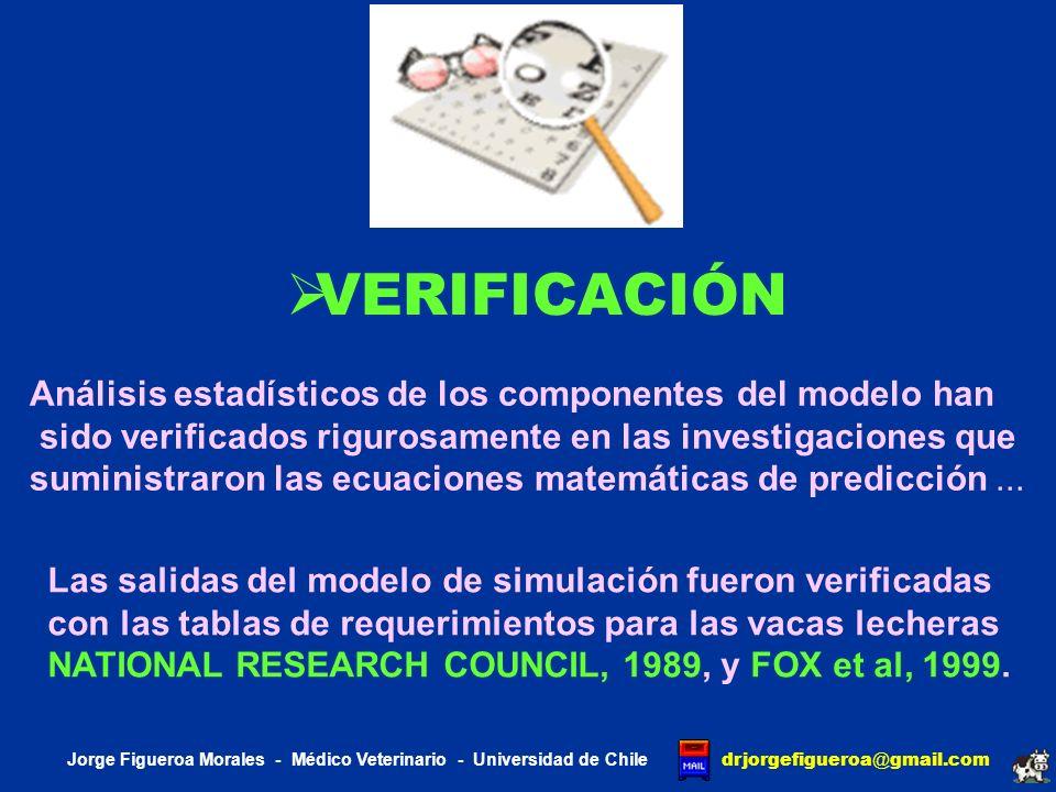 VERIFICACIÓN Análisis estadísticos de los componentes del modelo han