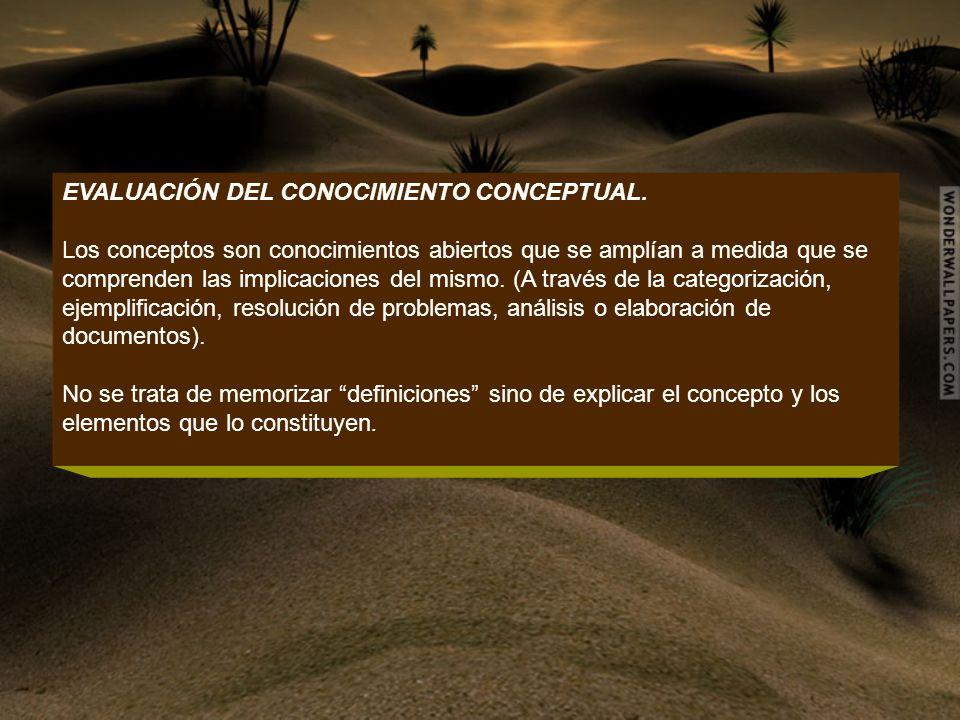 EVALUACIÓN DEL CONOCIMIENTO CONCEPTUAL.