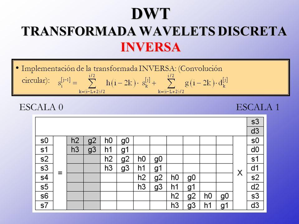 DWT TRANSFORMADA WAVELETS DISCRETA INVERSA