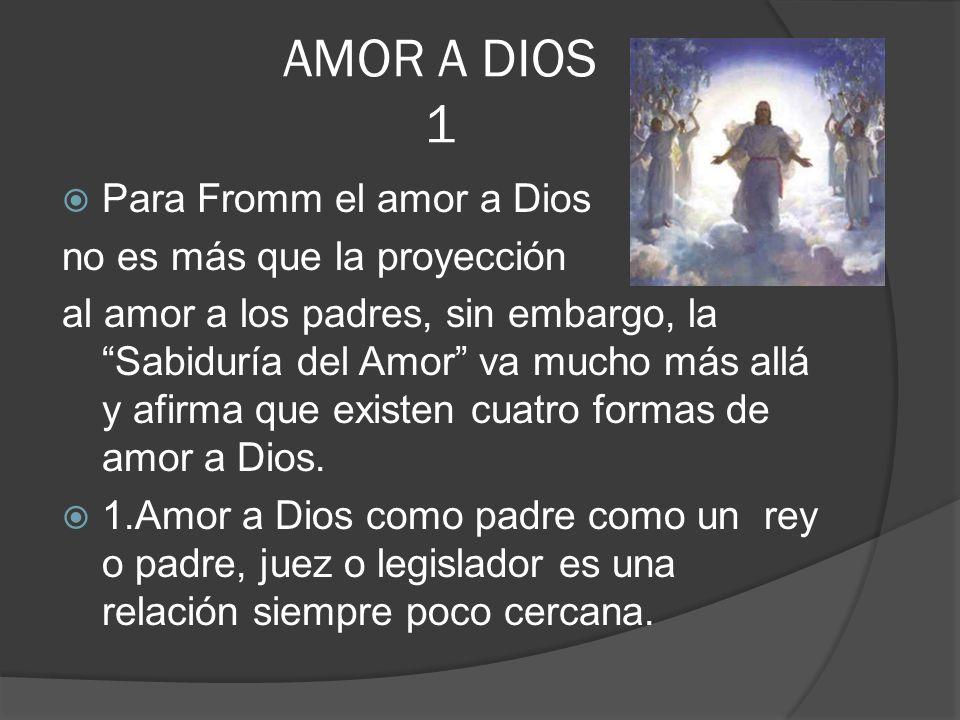 AMOR A DIOS 1 Para Fromm el amor a Dios no es más que la proyección