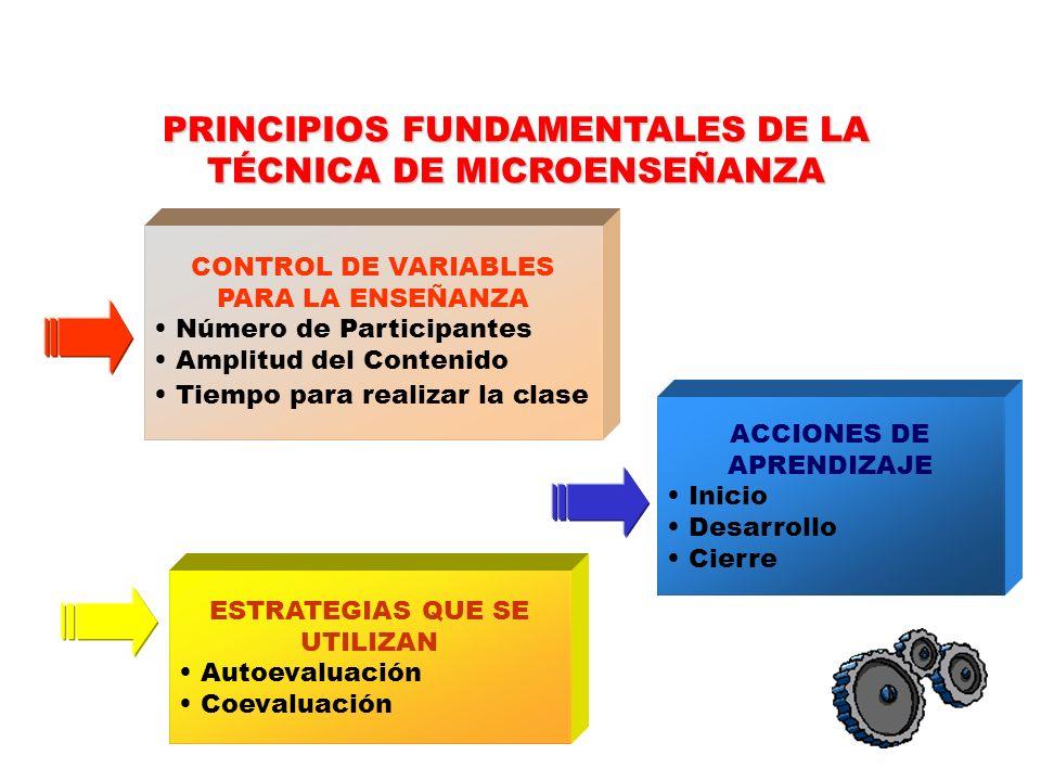 PRINCIPIOS FUNDAMENTALES DE LA TÉCNICA DE MICROENSEÑANZA
