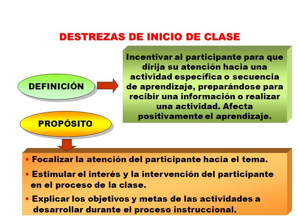 DESTREZAS DE INICIO DE CLASE