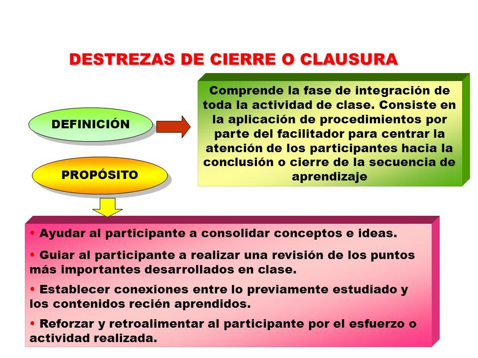 DESTREZAS DE CIERRE O CLAUSURA