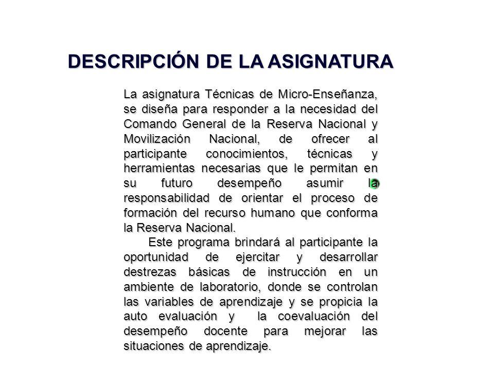 DESCRIPCIÓN DE LA ASIGNATURA
