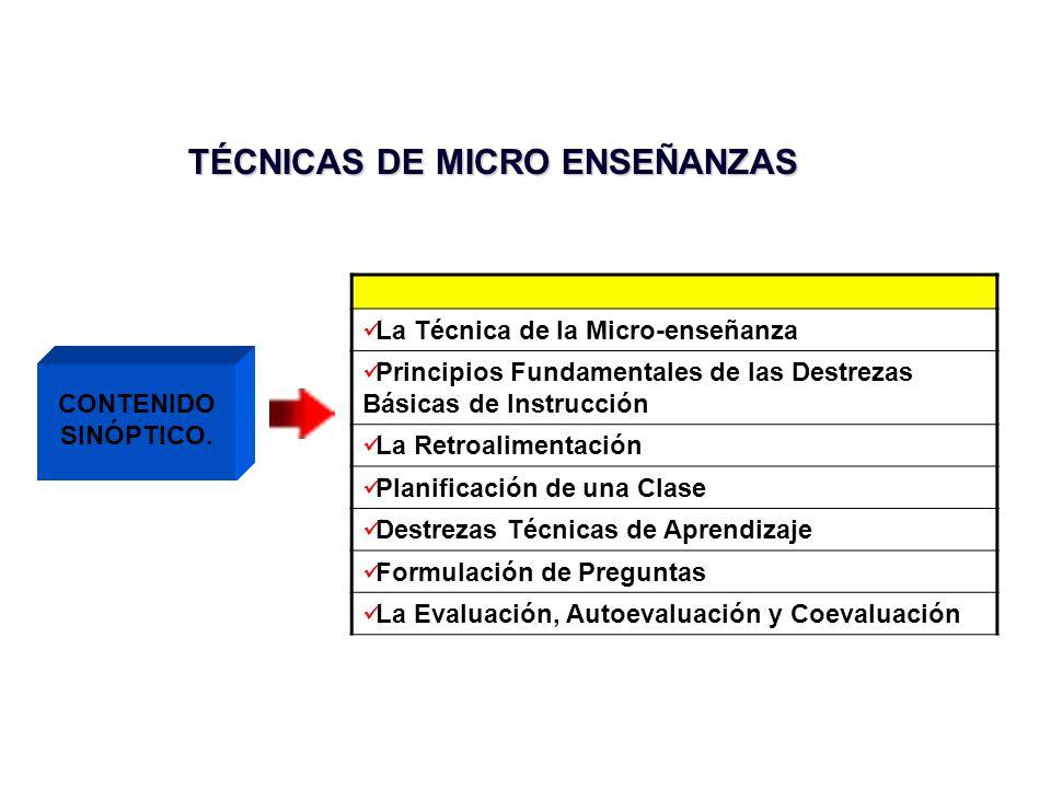 TÉCNICAS DE MICRO ENSEÑANZAS