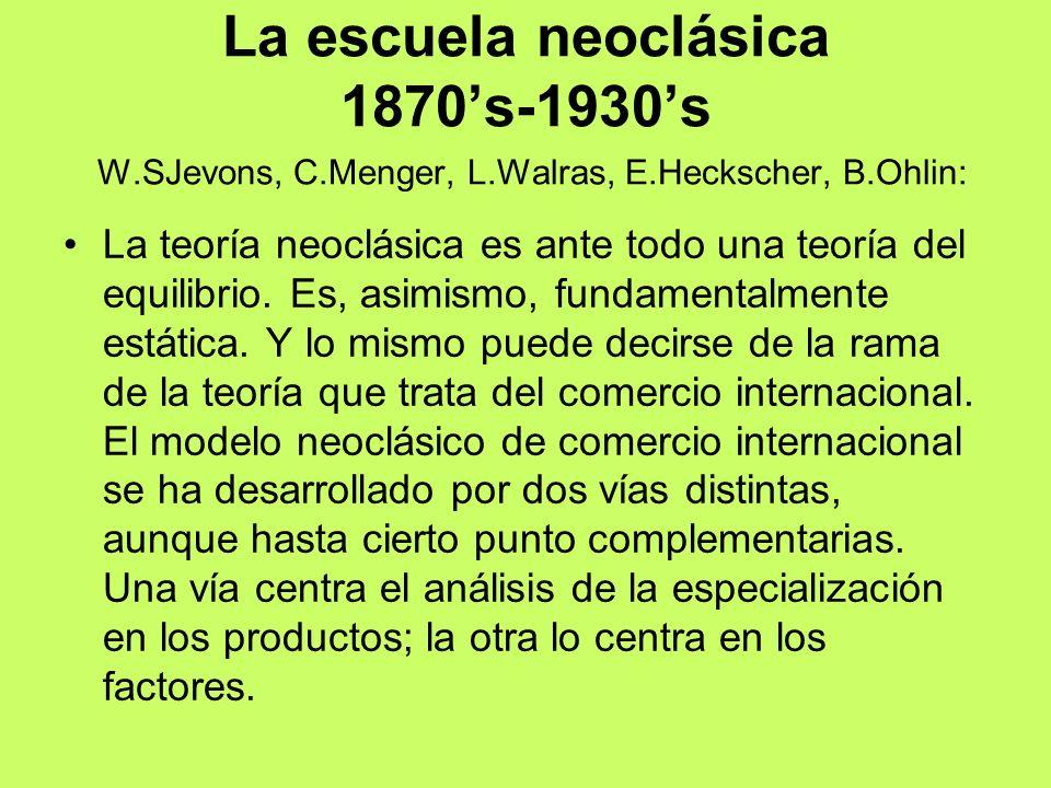 La escuela neoclásica 1870's-1930's W.SJevons, C.Menger, L.Walras, E.Heckscher, B.Ohlin: