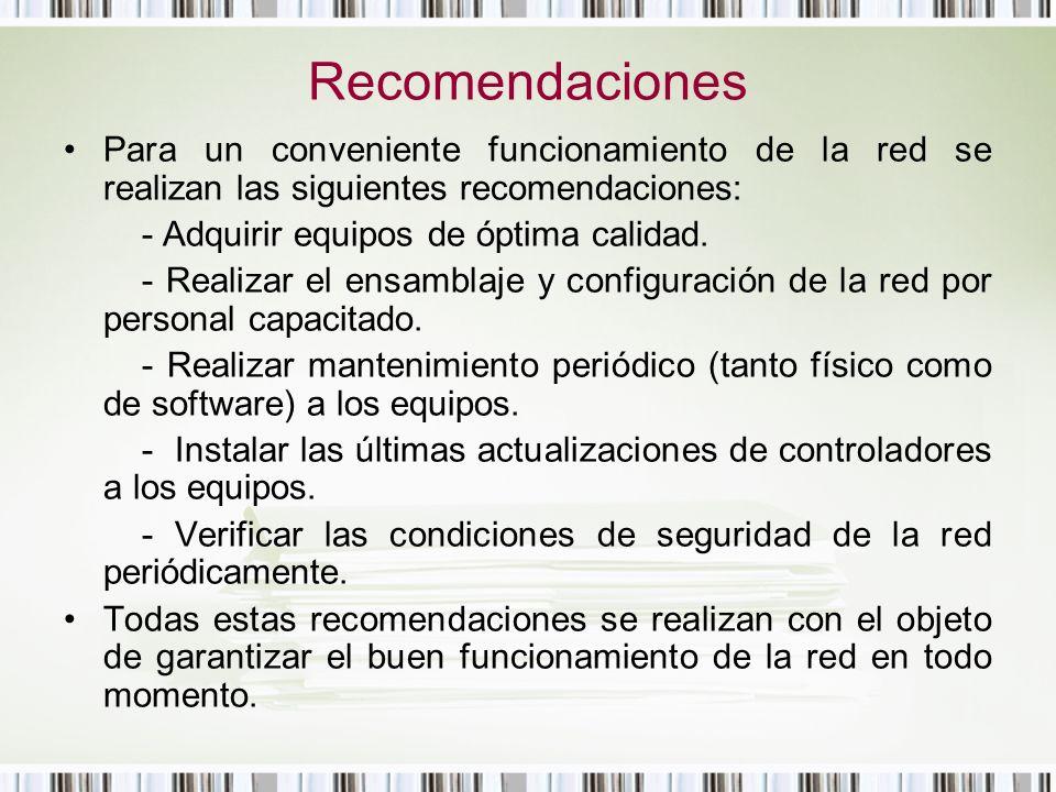 Recomendaciones Para un conveniente funcionamiento de la red se realizan las siguientes recomendaciones: