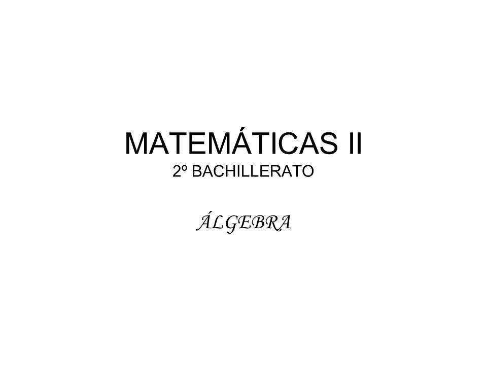MATEMÁTICAS II 2º BACHILLERATO