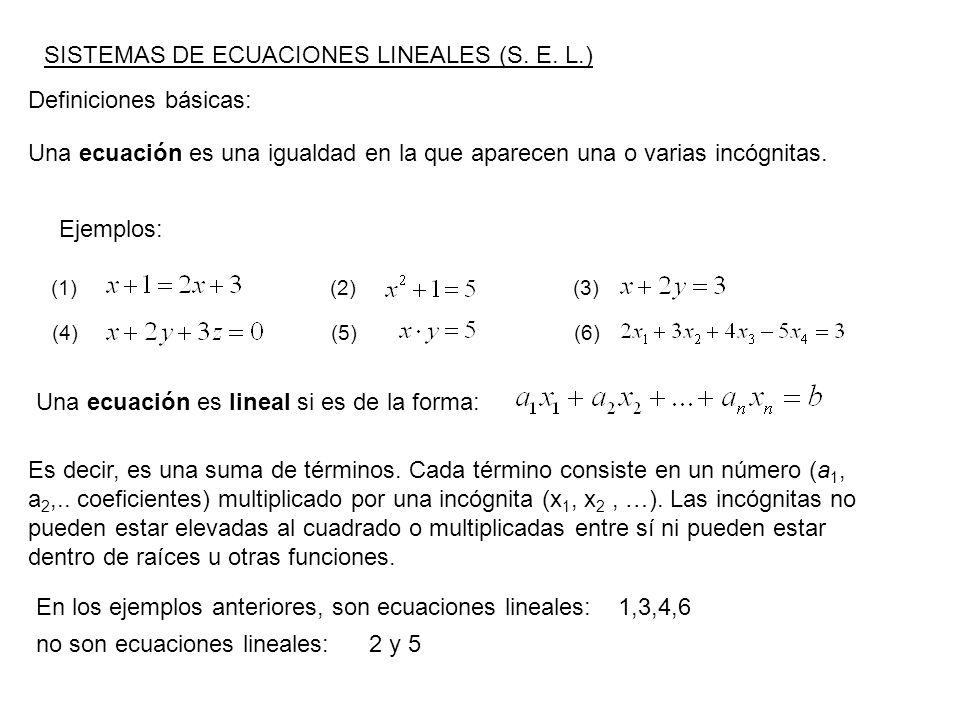 SISTEMAS DE ECUACIONES LINEALES (S. E. L.)