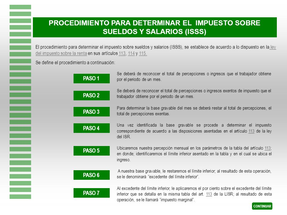 PROCEDIMIENTO PARA DETERMINAR EL IMPUESTO SOBRE SUELDOS Y SALARIOS (ISSS)