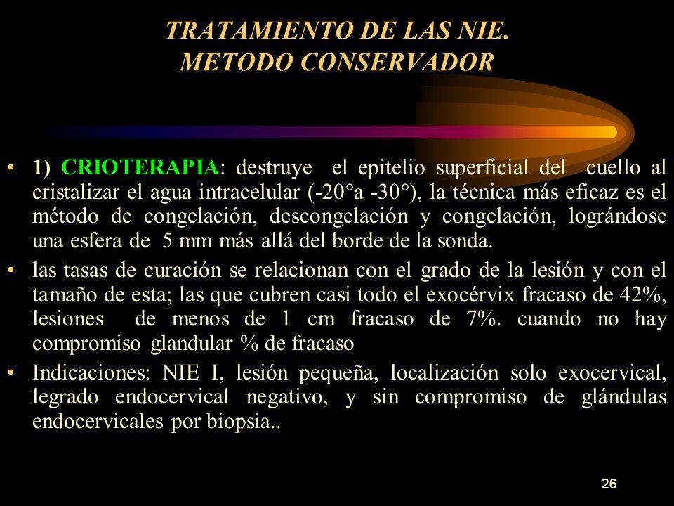 TRATAMIENTO DE LAS NIE. METODO CONSERVADOR