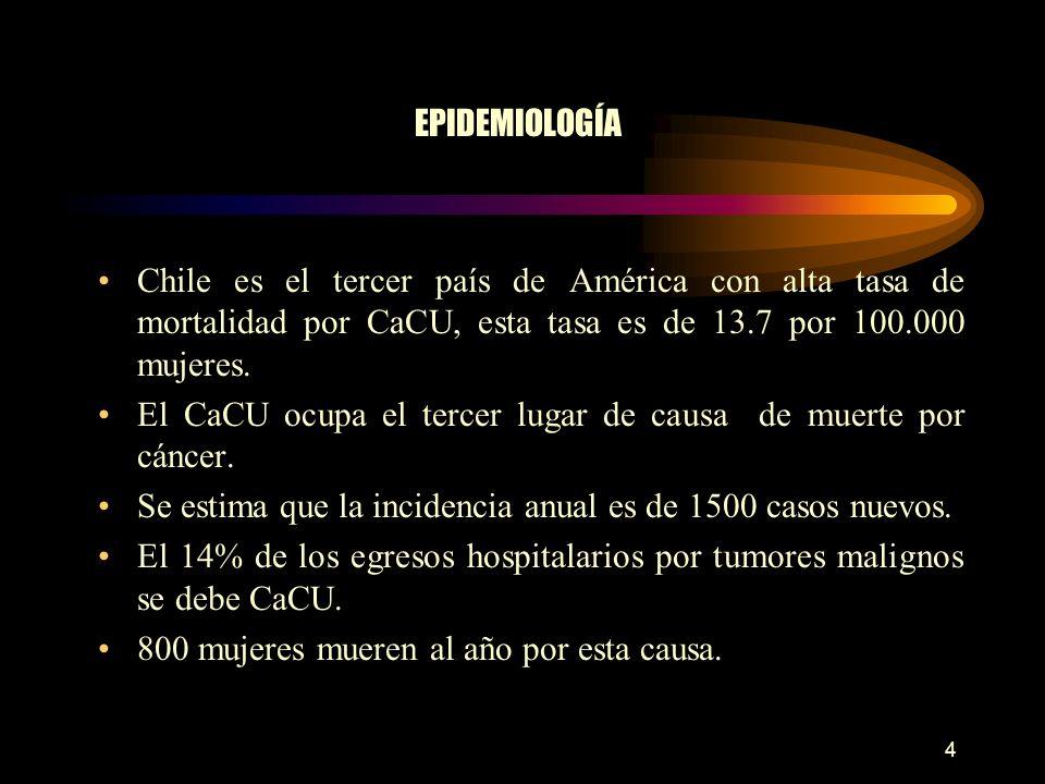 EPIDEMIOLOGÍA Chile es el tercer país de América con alta tasa de mortalidad por CaCU, esta tasa es de 13.7 por 100.000 mujeres.