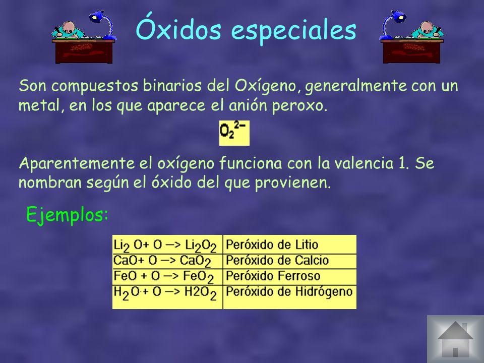Óxidos especiales Ejemplos: